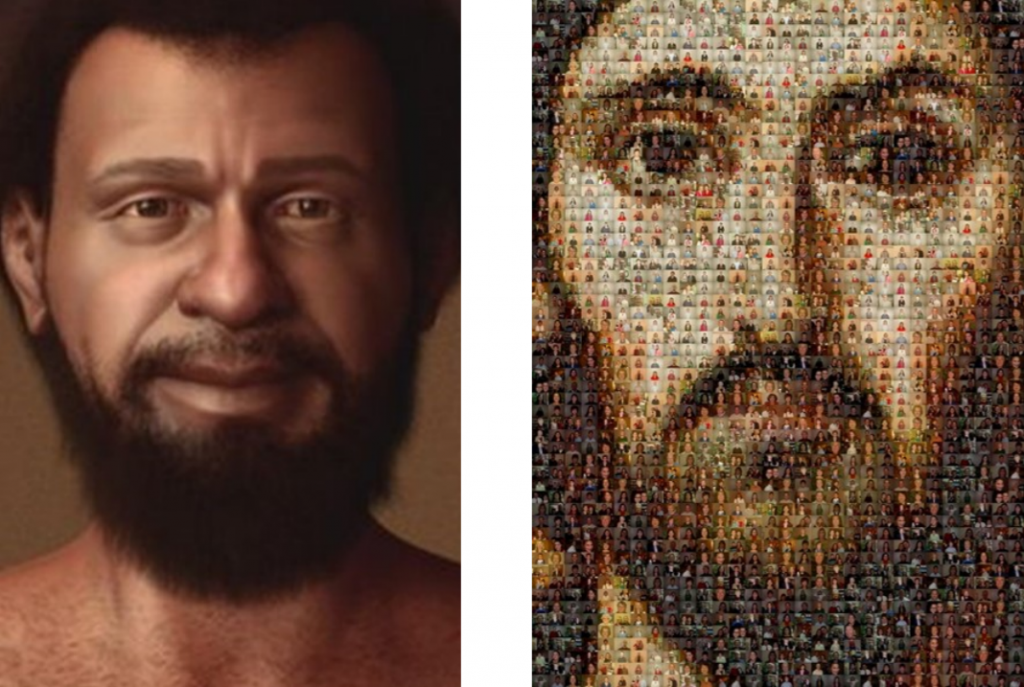 A comparison of a historically, genetically accurate Jesus and of a white Jesus composed of smaller pictures of people.