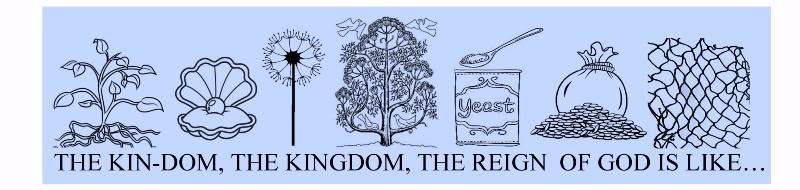 "Images from left to right: a sprouting plant, a pearl in a clamshell, a dandelion, a tree flanked by doves, yeast, a bag of money, and a fishing net. Text reads: ""The kin-dom, the Kingdom, the reign of God is like..."""
